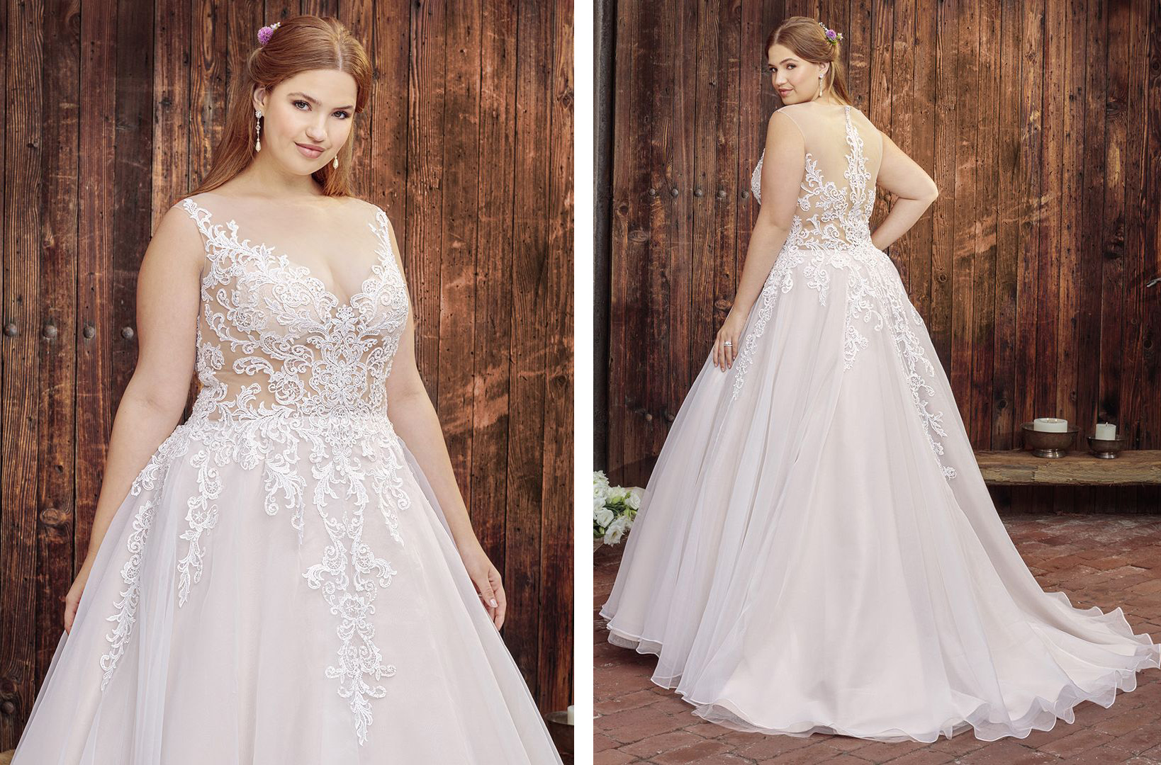 Plus Size A-Line Wedding Dress with Sheer Lace Bodice