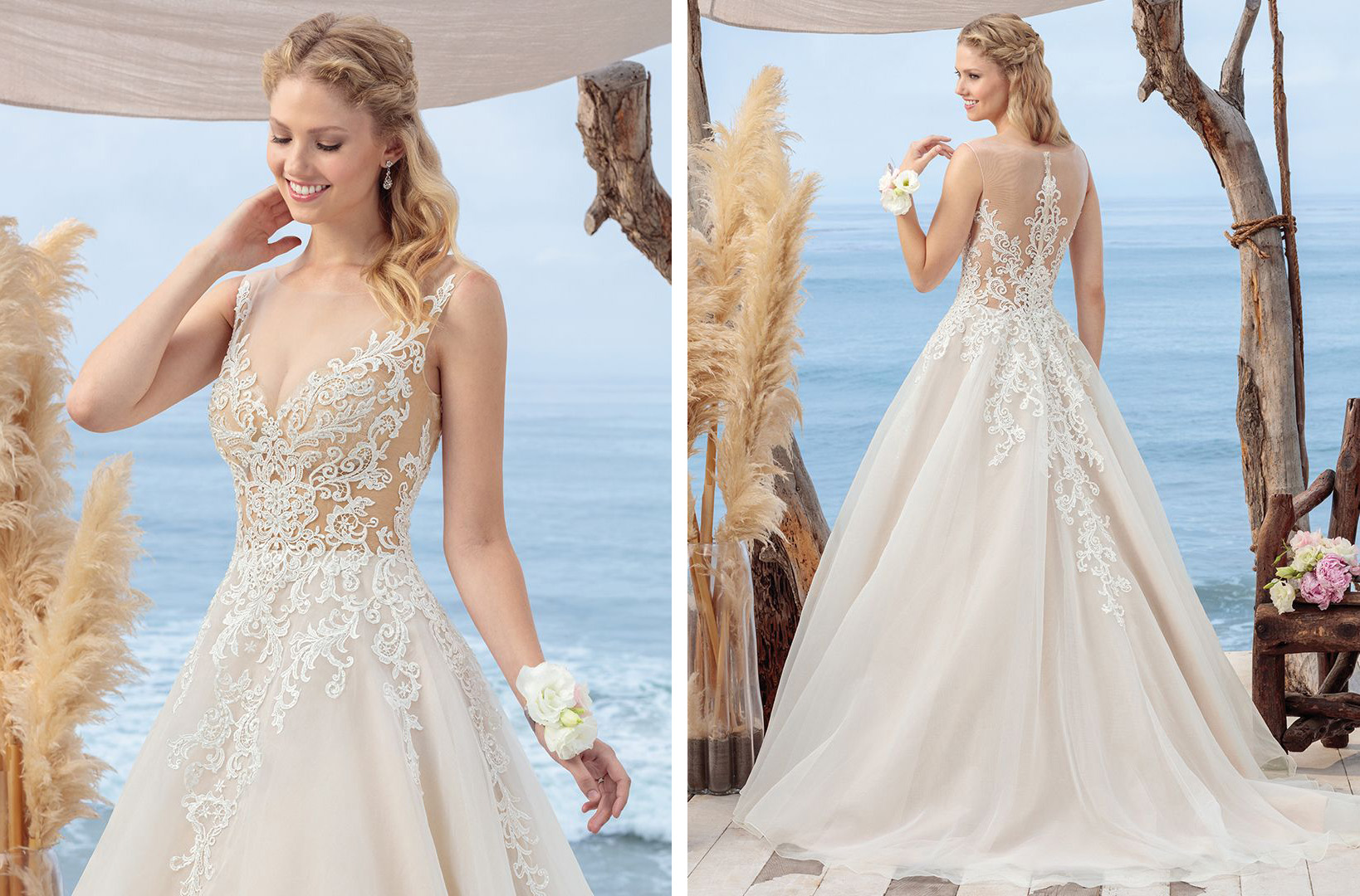Illusion Lace Bodice Wedding Dress by Beloved