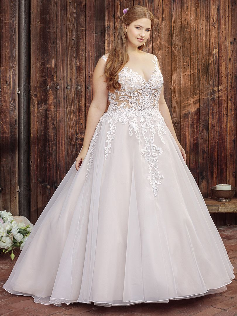 Plus Size A Line Wedding Dress with Sheer Bodice