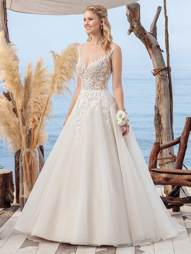 BL249 Coral | A Line Organza Wedding Dress with Sheer Lace Bodice