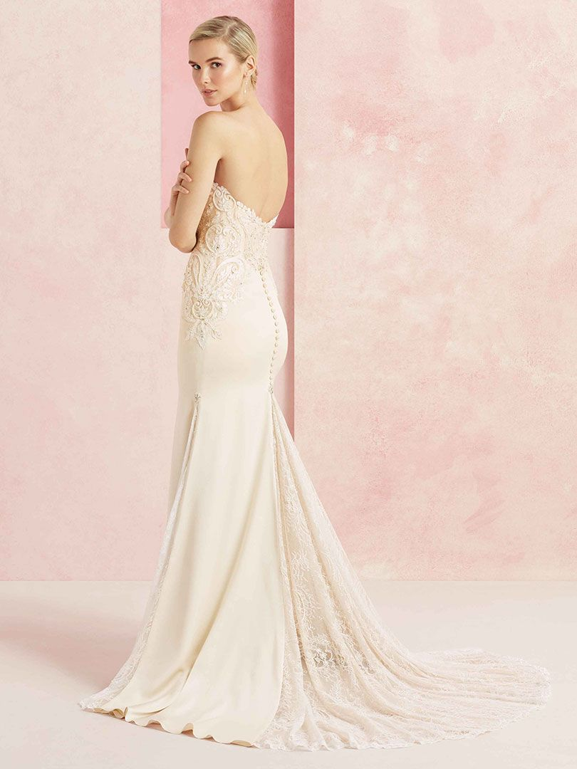 satin and lace wedding dress