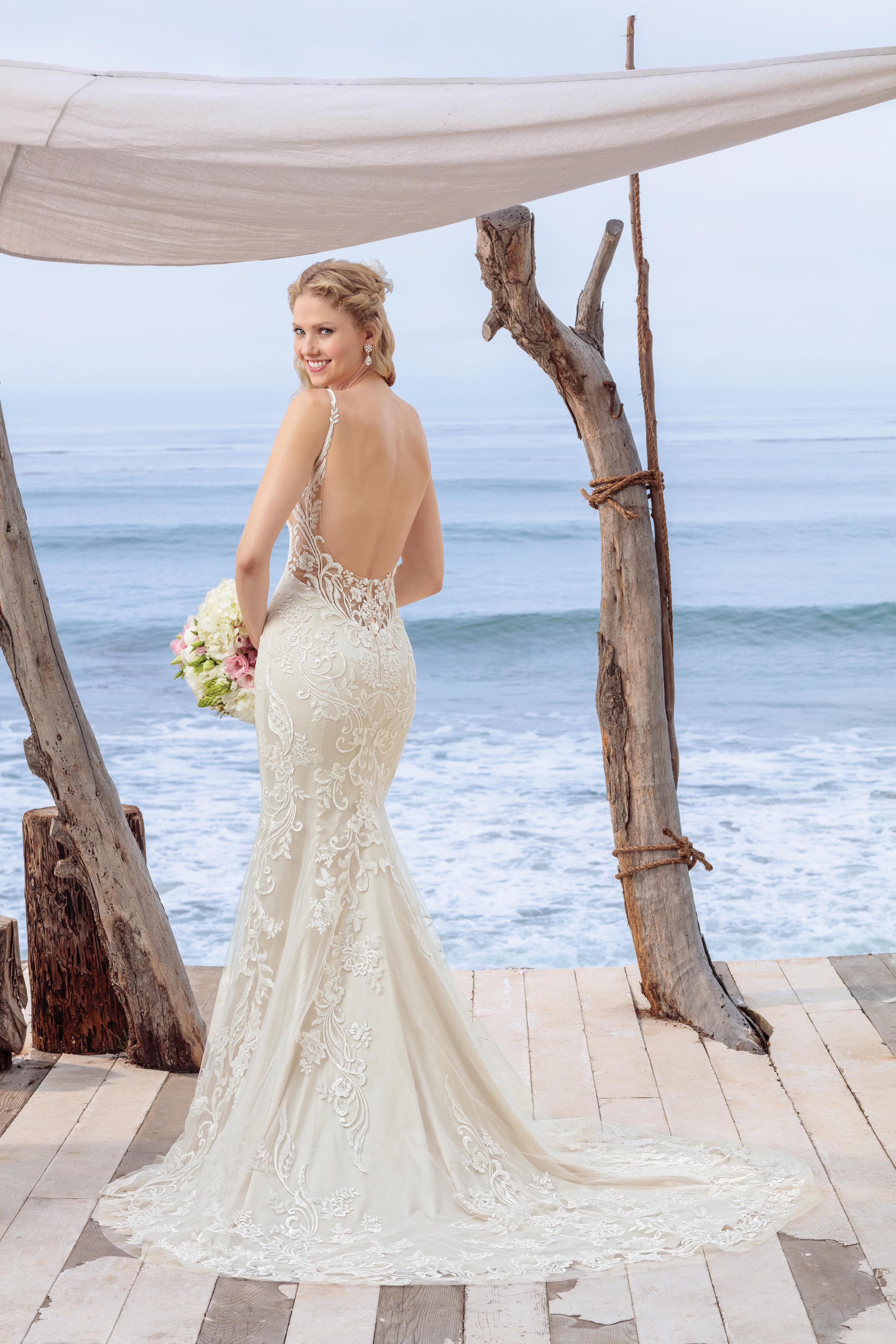 Beloved Bridal by Casablanca Style BL260 Lace Fit and Flare Low Back