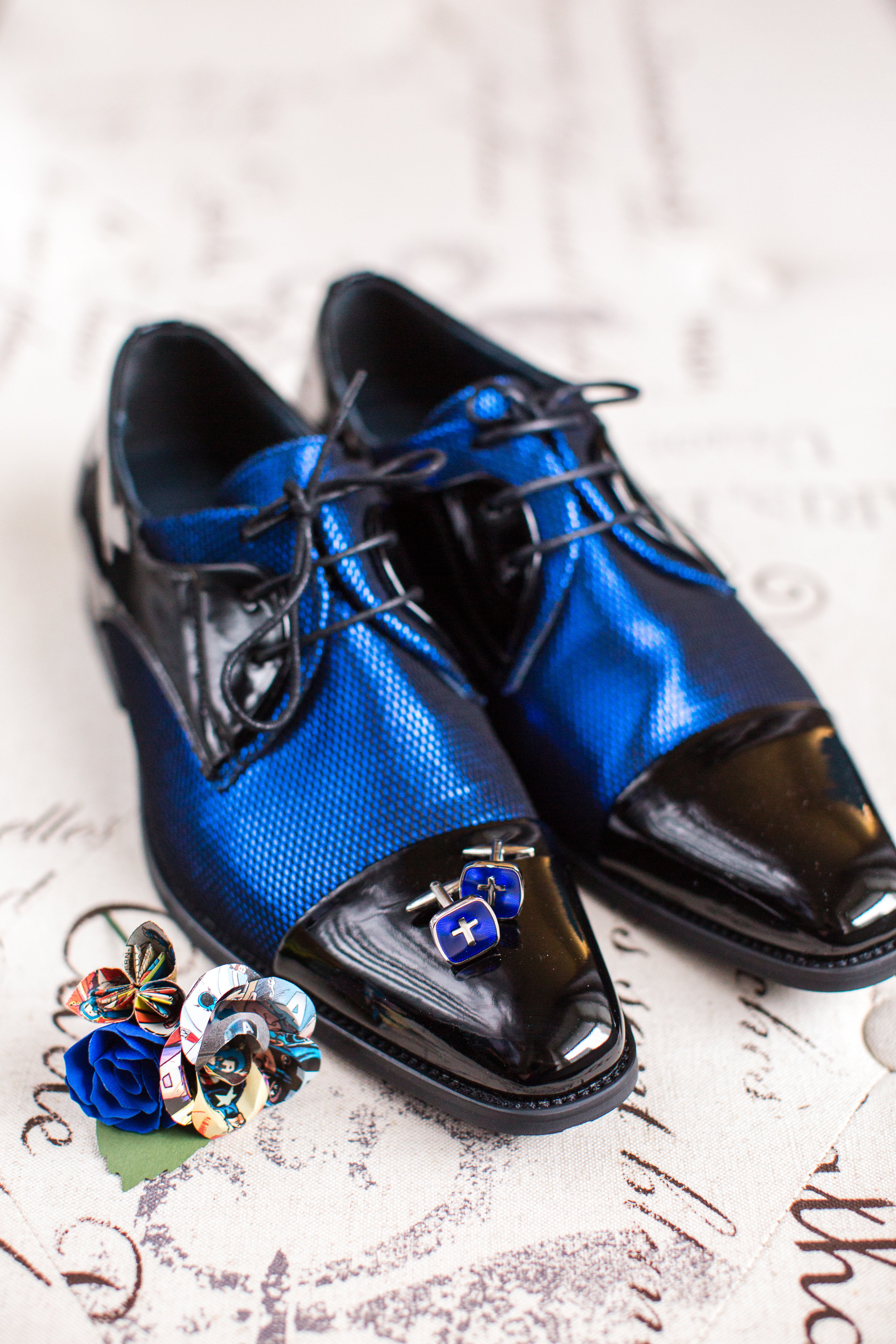 Groom Shoes Blue Comic Book Wedding