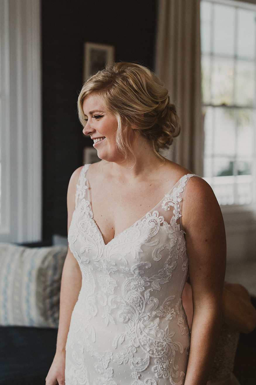 Beloved Real Bride: Abby In Style BL245 Midnight | Affordable Fit and Flare Lace Wedding Dress With V Neckline
