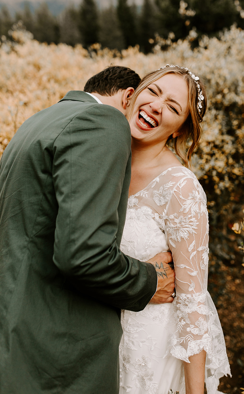 Colorado Mountain Wedding: Bohemian Style BL252 Rayne from Beloved by Casablanca Bridal | Affordable Lace Wedding Dress with Bell Sleeves